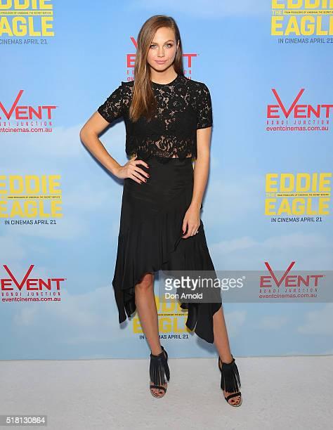 Ksenija Lukich arrives ahead of the Eddie The Eagle screening at Event Cinemas Bondi Junction on March 30 2016 in Sydney Australia