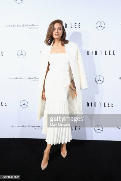 Ksenija Lukich arrives ahead of the MercedesBenz Presents Dion Lee show at MercedesBenz Fashion Week Resort 18 Collections at the Sydney Opera House...