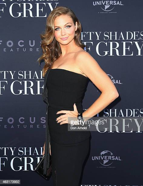 Ksenija Lukich arrives at the Fifty Shades of Grey screening at the Entertainment Quarter on February 11 2015 in Sydney Australia