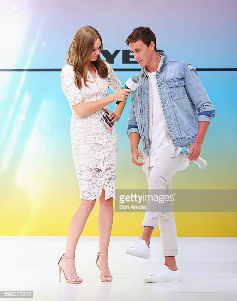 Ksenija Lukich interviews Cameron McEvoy during a Myer meet greet wth fans to discuss summer fashion trends at Pitt Street Mall on August 27 2016 in...