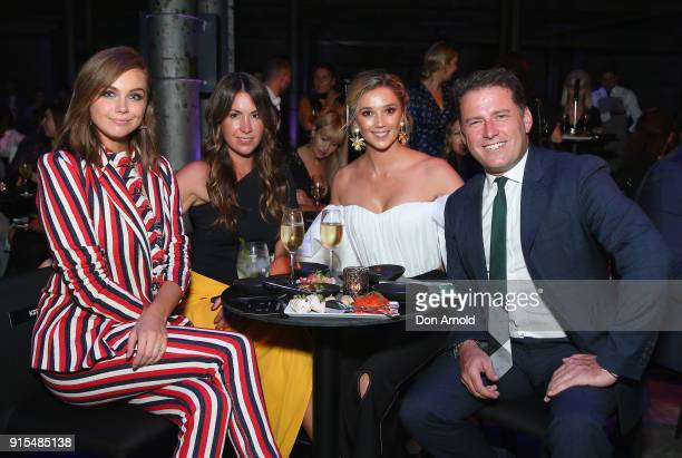 Ksenija Lukich poses alongside Jasmine Yarbrough and Karl Stefanovic after the David Jones Autumn Winter 2018 Collections Launch at Australian...