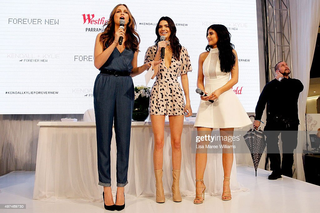 Ksenija Lukich welcomes Kendall and Kylie Jenner to the stage at Westfield Parramatta on November 17, 2015 in Sydney, Australia.