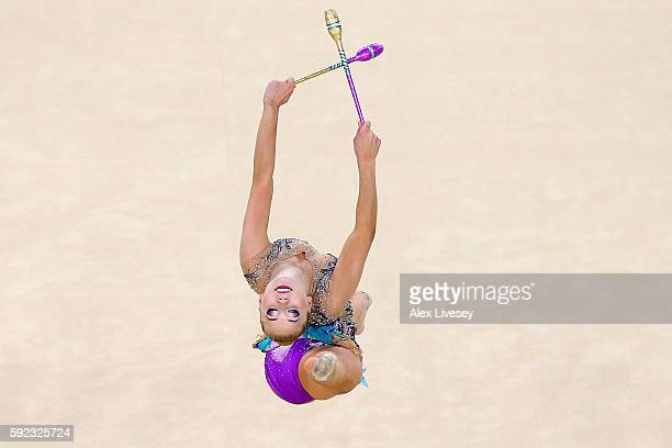Kseniya Moustafaeva of France competes during the Women's Individual All-Around Rhythmic Gymnastics Final on Day 15 of the Rio 2016 Olympic Games at...