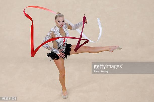 Kseniya Moustafaeva of France competes during the Women's Individual AllAround Rhythmic Gymnastics Final on Day 15 of the Rio 2016 Olympic Games at...