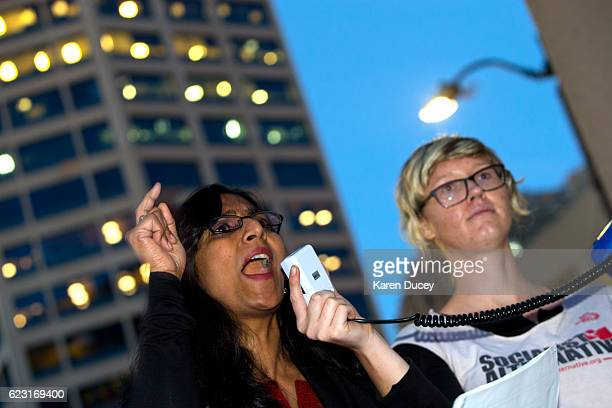 Kshama Sawant Seattle city councilmember and Socialist addresses protesters on November 9 2016 in Seattle Washington Demostrations in multiple cities...