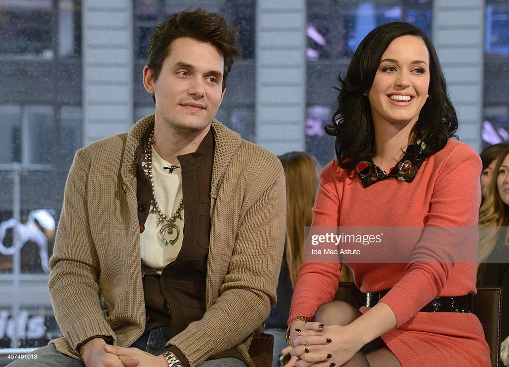 AMERICA - Ksty Perry and John Mayer visited Times Square to debut the world exclusive premiere of the music video Who You Love on GOOD MORNING AMERICA, 12/17/13, airing on the ABC Television Network. (Photo by Ida Mae Astute/ABC via Getty Images) KATY