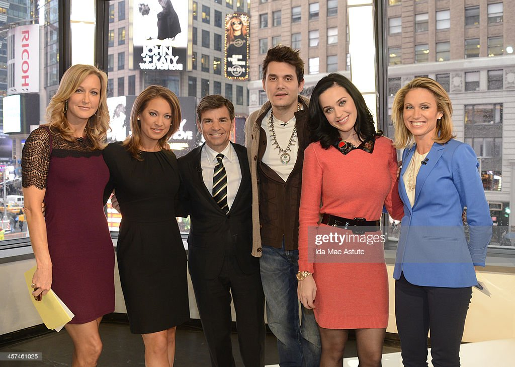 AMERICA - Ksty Perry and John Mayer visited Times Square to debut the world exclusive premiere of the music video Who You Love on GOOD MORNING AMERICA, 12/17/13, airing on the ABC Television Network. (Photo by Ida Mae Astute/ABC via Getty Images) LARA