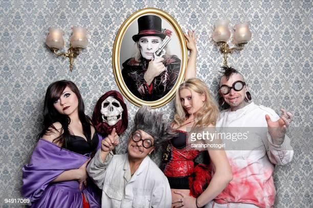 Ksusha Veslovskaya, Captain Dan, Doktor Haze, Anastasia IV and Hannibal Helmerto from The Circus of Horrors pose during their UK tour on November 21,...