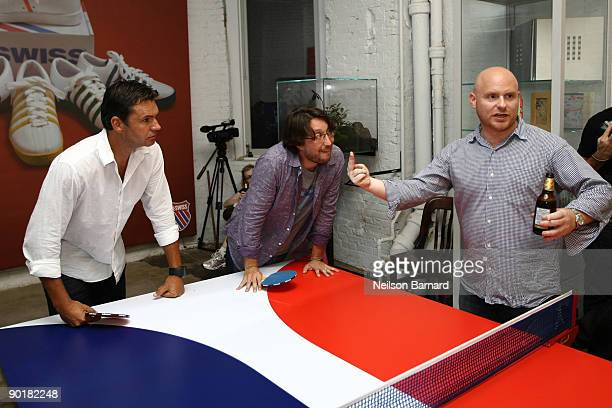 KSwiss Sports Marketing Director Eric Vervloet Executive Vice President KSwiss David Nichols and Anthony Sperduti of Partners and Spade play during...