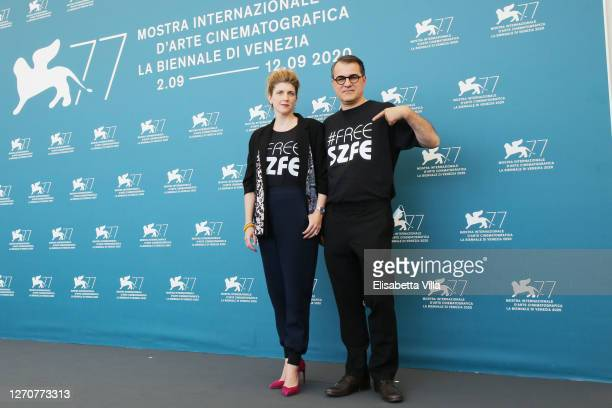 Káta Weber and director Kornel Mundruczo wear a tshirt in sign of protest against the governmental control of the University of Theatre and Film Arts...
