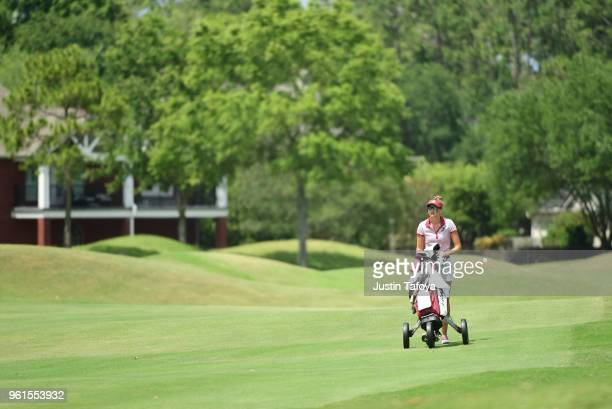 Ktharina Keilich of the University of Indianapolis walks down the seventeenth fairway during the Division II Women's Golf Championship held at Bay...