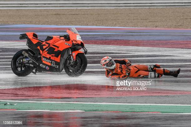 Tech3 Spanish rider Iker Lecuona falls during the second free practice session ahead of the San Marino MotoGP Grand Prix at the Misano World Circuit...