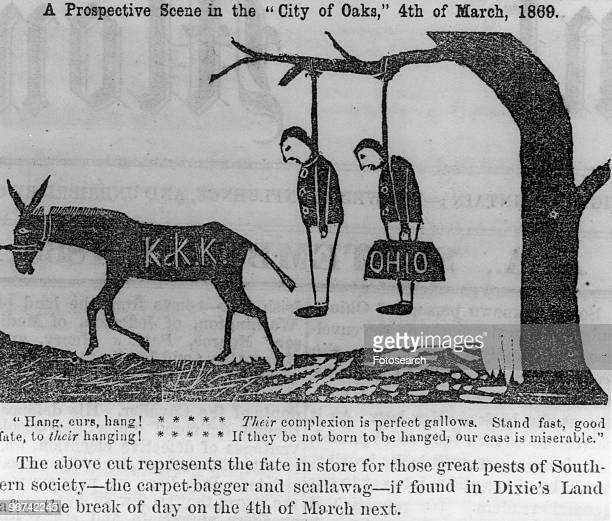 Ku Klux Klan cartoon with the caption 'A prospective scene in the 'City of Oaks' 4th of March 1869 The above cut represents the fate in store for...