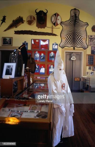 ku klux klan exhibit at floridian political and social history museum. - kkk mask stock pictures, royalty-free photos & images