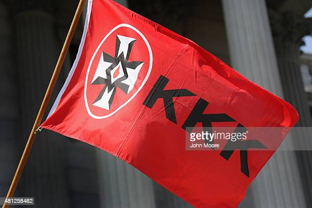 Ku Klux Klan flies during a Klan demonstration at the state house building on July 18 2015 in Columbia South Carolina The KKK protested the removal...