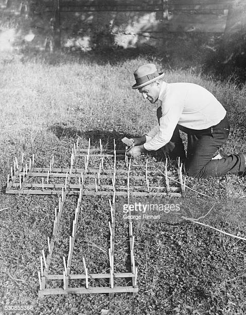 A Ku Klux Klan is shown under construction at Rutherford New Jersey where a big Klan Demonstration was held It is probably the only posed photo of...