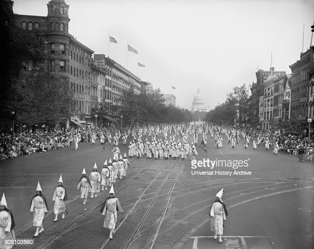 Ku Klux Klan Marching down Pennsylvania Avenue Washington DC USA Harris Ewing September 1926