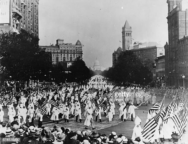 Ku Klux Klan marching on Pennsylvania Avenue in Washington DC on September 13 1926