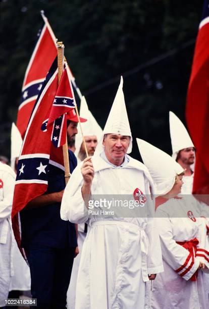 Ku Klux Klan members march May 4, 1989 in Stone Mountain , Georgia