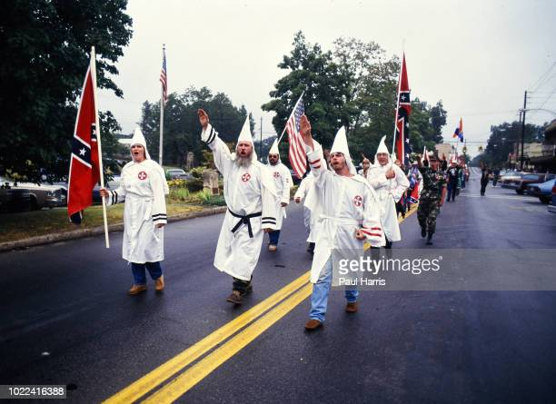 Ku Klux Klan members march May 4 1989 in Stone Mountain Georgia
