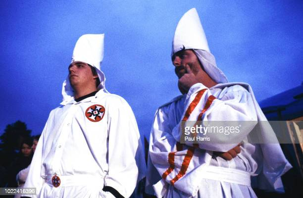 Ku Klux Klan members march May 4 1989 in Stone Mountain Georgia