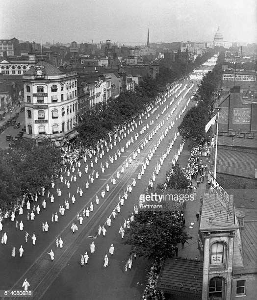 Ku Klux Klan members march on Pennsylvania Avenue on August 9 1925