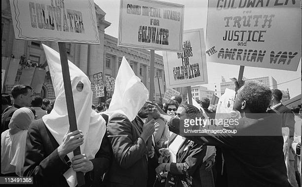 Ku Klux Klan members supporting Barry Goldwater's campaign for the presidential nomination at the Republican National Convention San Francisco...