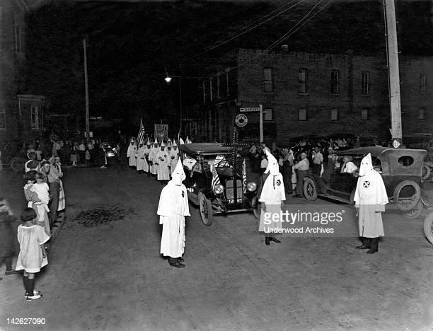 A Ku Klux Klan nighttime parade in Indiana Muncie Indiana 1923