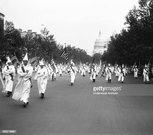 Ku Klux Klan parade in the nation's Capitol, Washington DC, September 13, 1926.