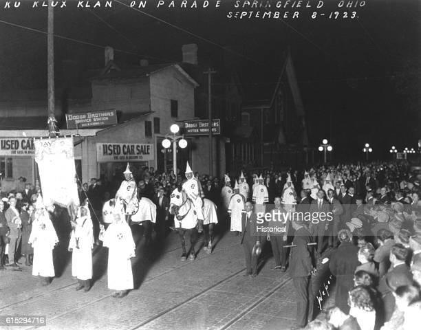 A Ku Klux Klan parade through Springfield Ohio on September 8 1923