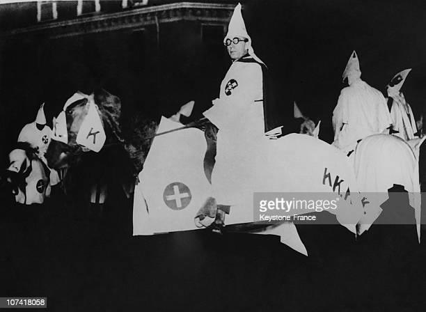 Ku Klux Klan Public Demonstration Equestrian Parade In Usa On January 1923