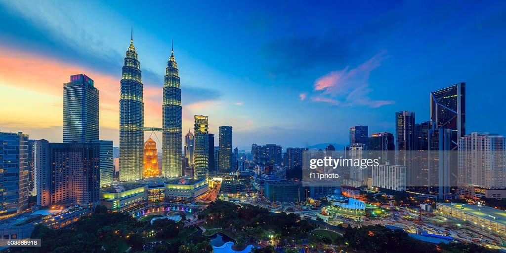 Kuala Lumper skyline at twilight : Stock Photo