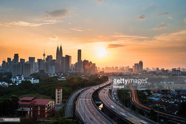 kuala lumper with sunset - malaysia stock pictures, royalty-free photos & images