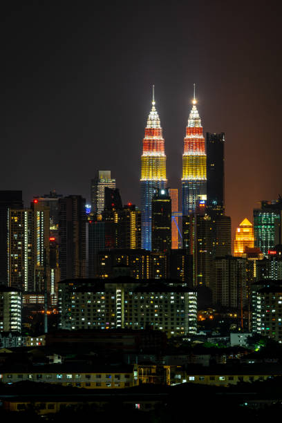 Kuala Lumpur City Centre twin towers in Malaysia national flag colours