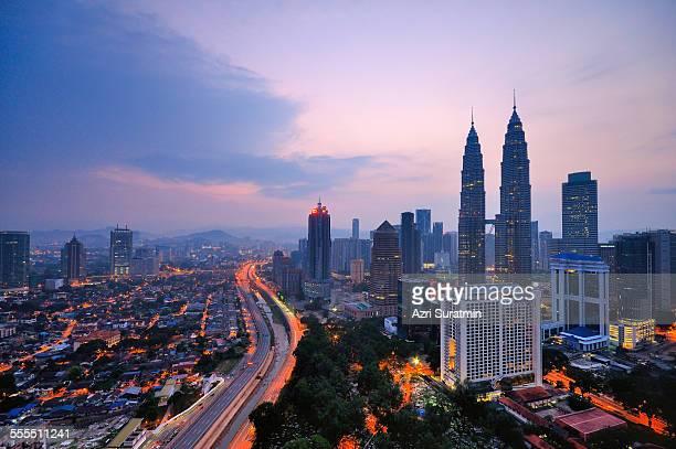 Kuala Lumpur city during hazy sunrise