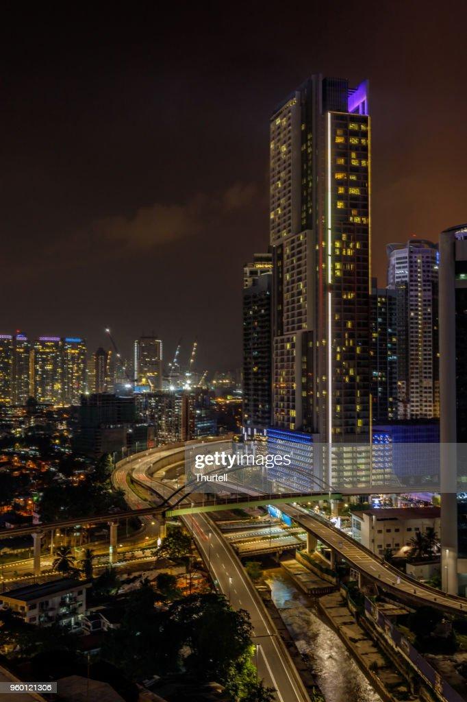 Kuala Lumpur City Skyline bei Nacht : Stock-Foto