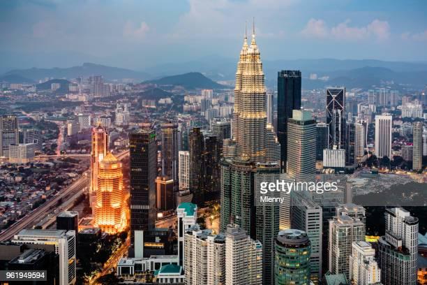 Kuala Lumpur Cityscape Petronas Towers at Night