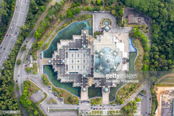 kuala lumpur, malaysia, aerial view of the federal territory mosque masjid wilayah persekutuan - mosque stock pictures, royalty-free photos & images