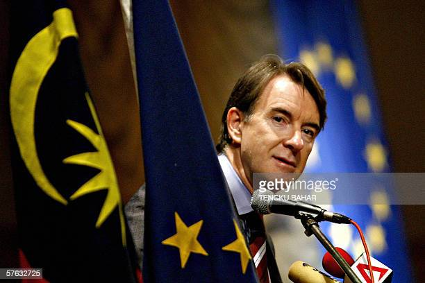 Kuala Lumpur, MALAYSIA: European Union Trade Commissioner Peter Mandelson glances into the crowd while delivering his keynote speech during a trade...