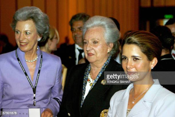 Princess Haya of Jordan Princess Benedikte of Demark and Infanta Dona Pilar de Borbon pose for photographs after Princess Haya was elected new FEI...