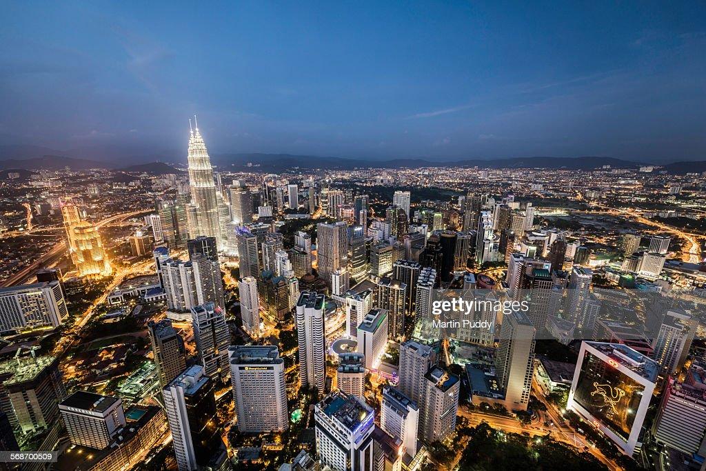 Kuala Lumpur skyline at dusk,elevated view : Stock Photo