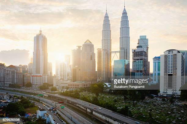 Kuala lumpur skyline at sunrise