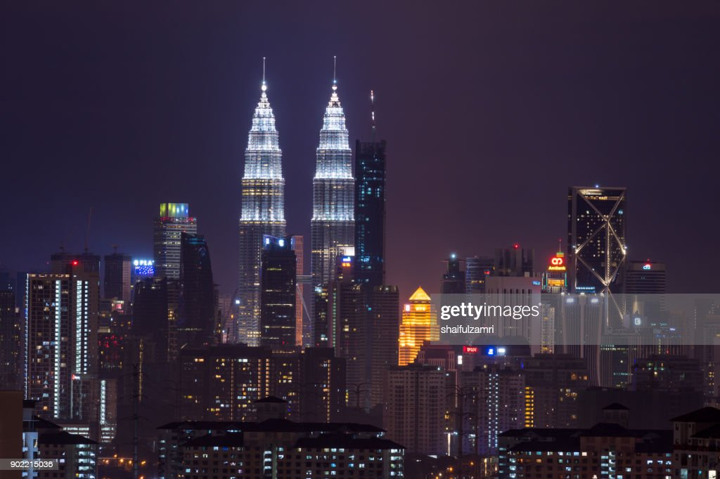 Kuala Lumpur, the capital of Malaysia. Its modern skyline is dominated by the 451m-tall KLCC, a pair of glass-and-steel-clad skyscrapers. : Stock Photo
