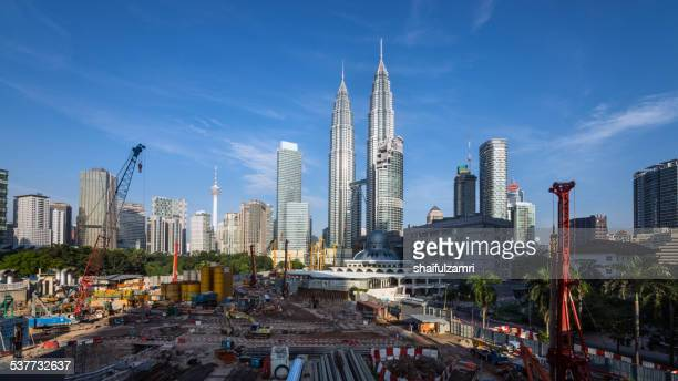 kuala lumpur under construction - shaifulzamri stock pictures, royalty-free photos & images