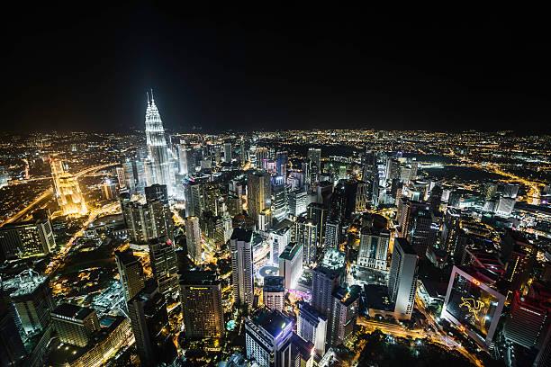 Kualu Lumpur skyline at night, elevated view