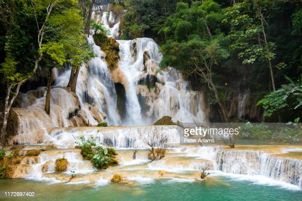 kuang si waterfall in luang prabang. laos - peter adams stock pictures, royalty-free photos & images