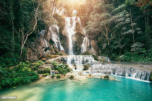kuang si waterfall located near luang prabang - laos fotografías e imágenes de stock