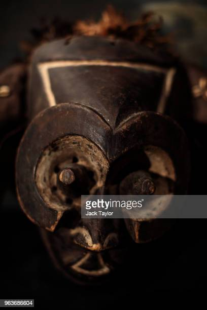 Kuba Mask with feather top Congo sits during a press preview at Summers Place Auctions on May 30 2018 in Billingshurst England Summers Place Auctions...