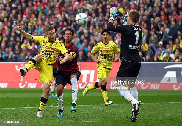 Kuba of Dortmund fails to score his team's opening goal during the Bundesliga match between Hannover 96 and Borussia Dortmund at AWD Arena on...