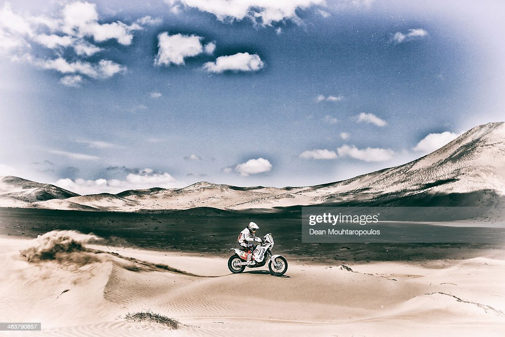 Kuba Przygonski of Poland for KTM Orlen Rally Factory Team competes in stage 12 on the way to La Serena during Day 13 of the 2014 Dakar Rally on January 17, 2014 in El Salvador, Chile.